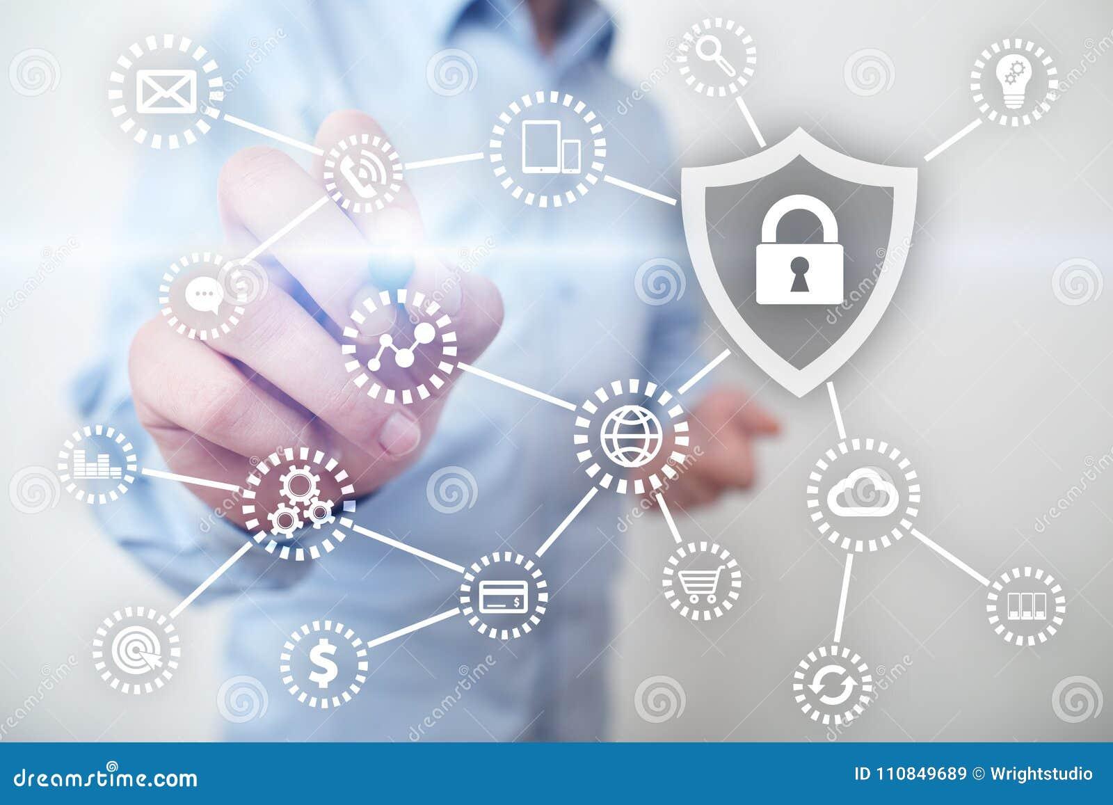 Internetsicherheits-, Datenschutz, Informationssicherheit und Verschlüsselung Internet-Technologie und Geschäftskonzept
