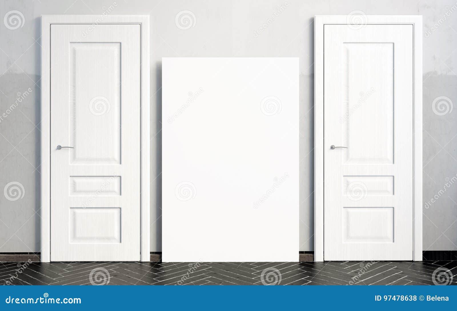 Interni con le porte bianche illustrazione 3D