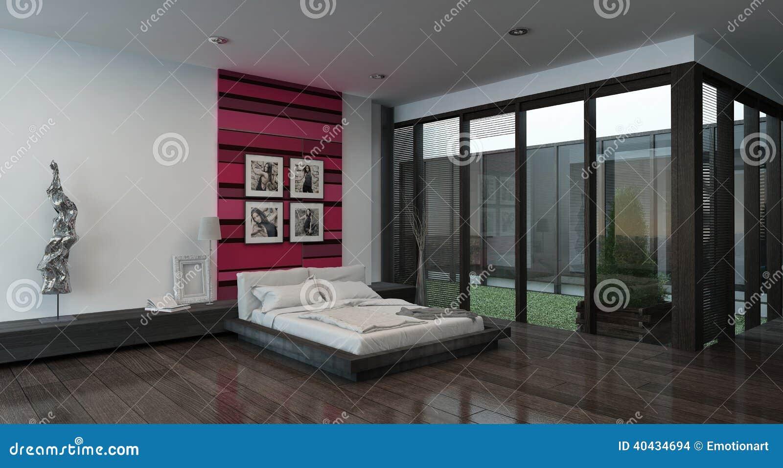 Interno accogliente della camera da letto con la parete colorata rosso illustrazione di stock - Bagiu per camera da letto ...
