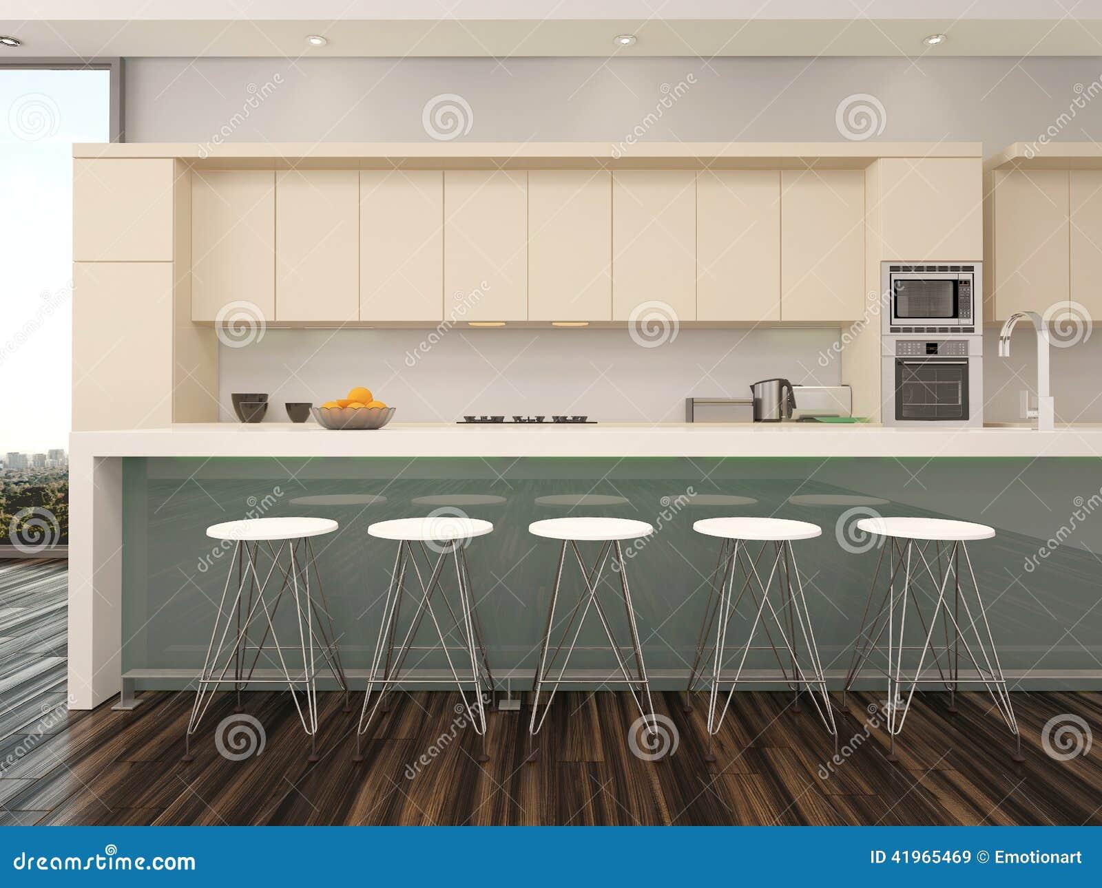 Interno aperto moderno della cucina dellappartamento di piano