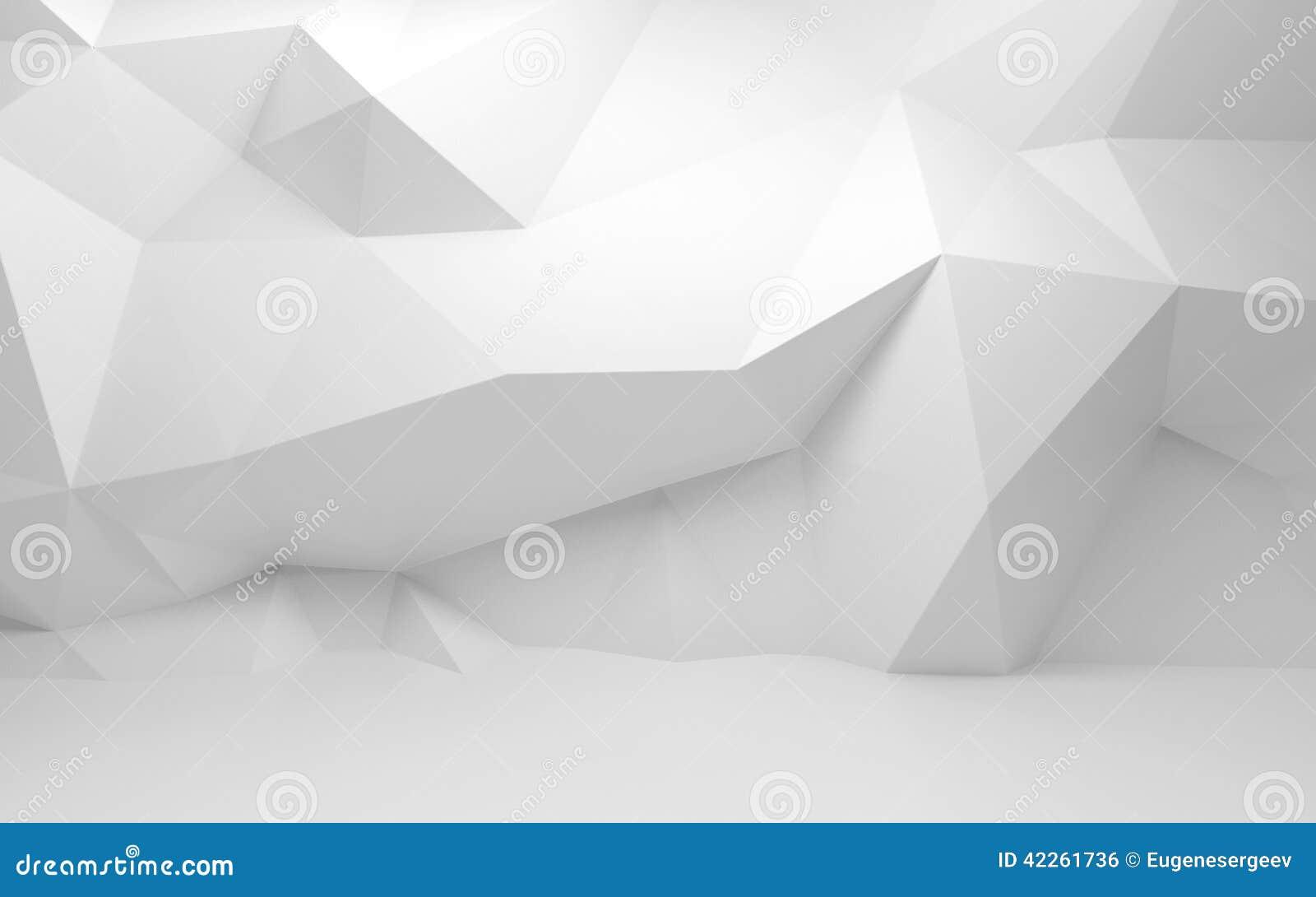 Interno astratto di bianco 3d con il modello poligonale sulla parete
