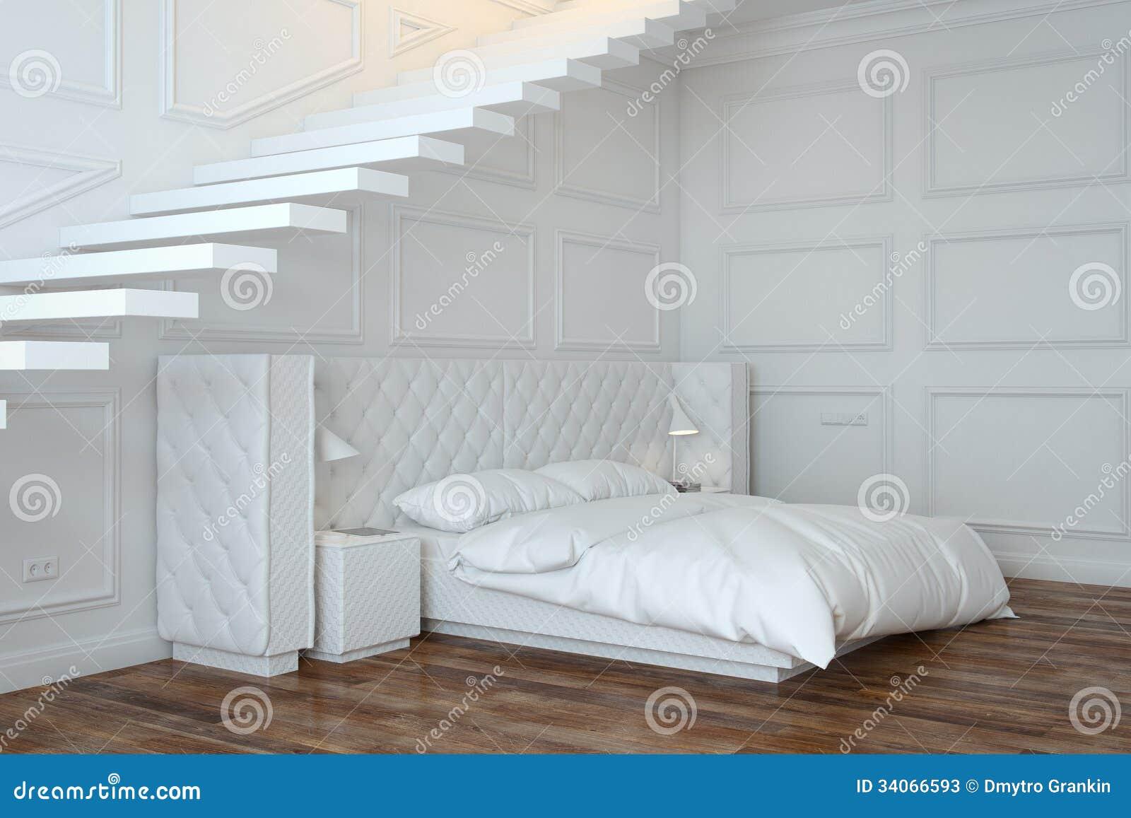Interno bianco della camera da letto con le scale vista di prospettiva illustrazione di stock - I segreti della camera da letto ...