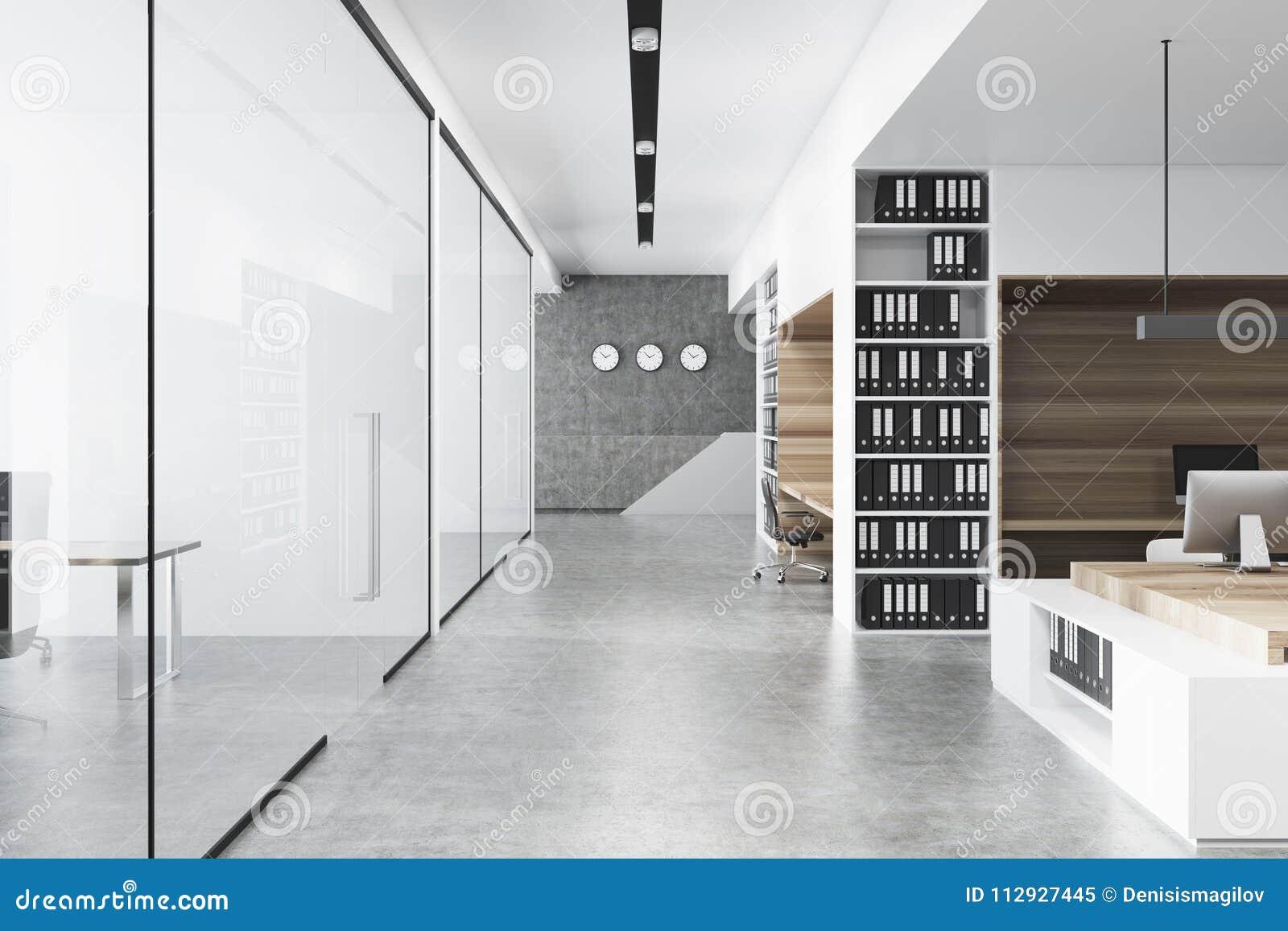 Ufficio Legno Bianco : Interno bianco e di legno dellufficio calcestruzzo illustrazione