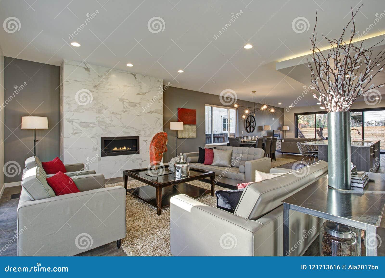 Interni Casa Grigio : Interno bianco e grigio del salone con la pianta aperta fotografia