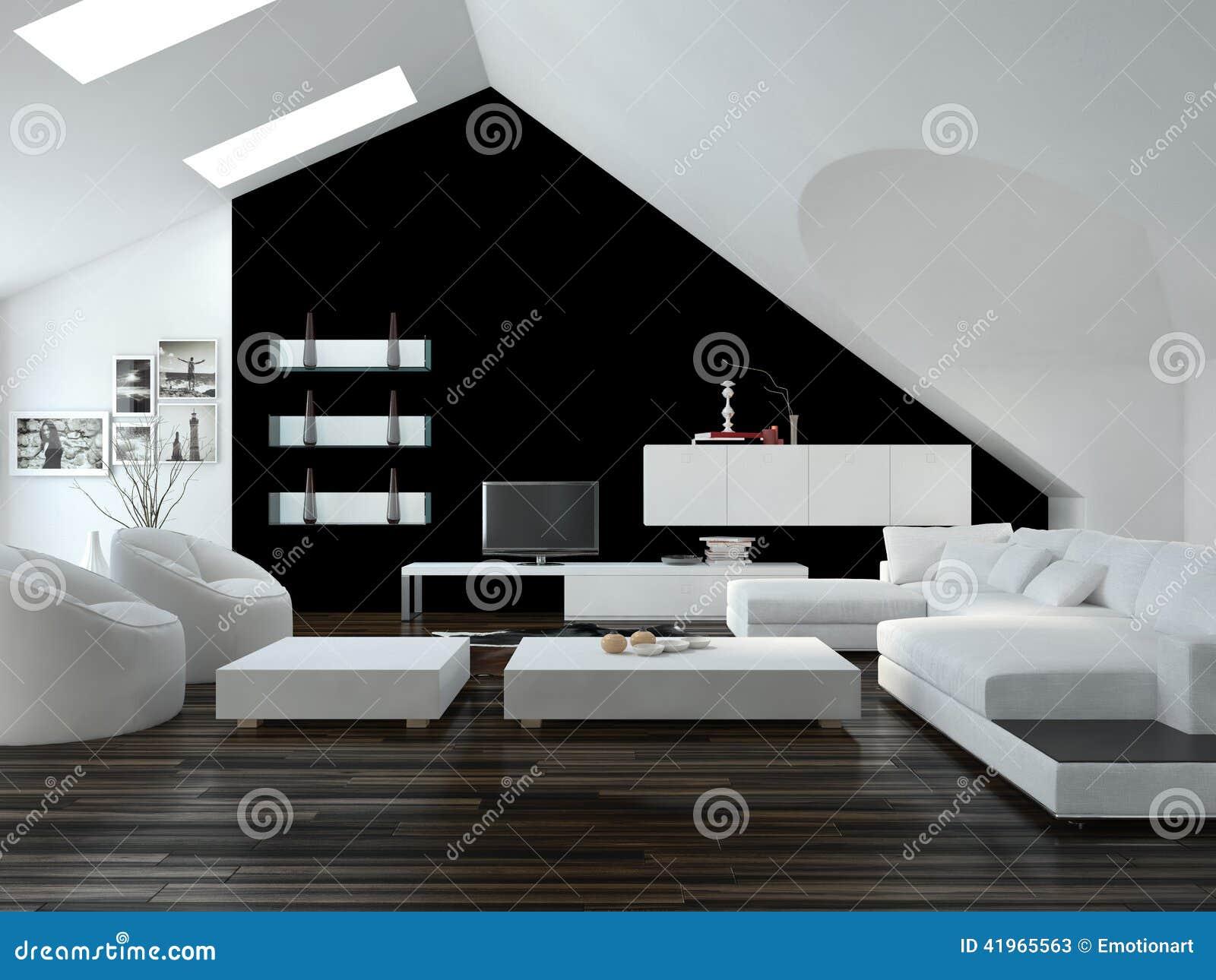Interno in bianco e nero moderno del salone del sottotetto for Interni salone