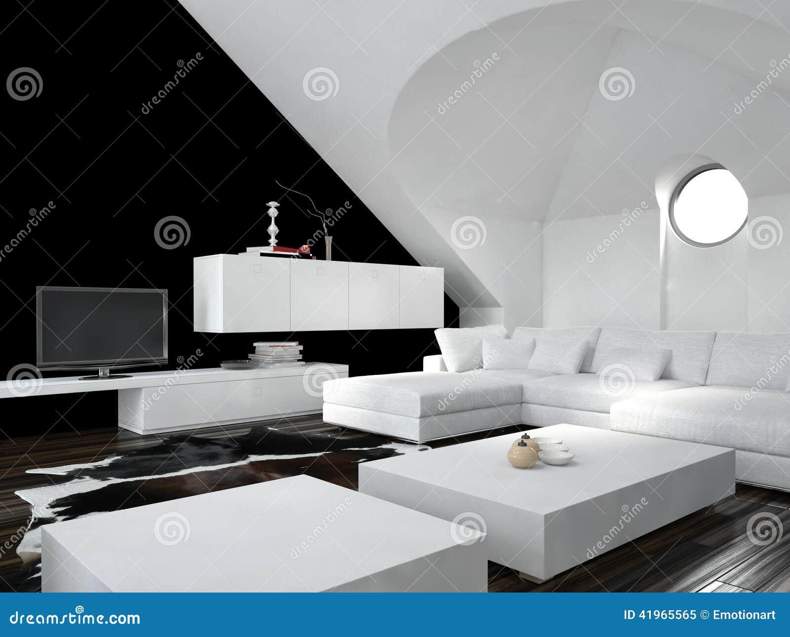 Interno in bianco e nero moderno del salone del sottotetto for Design moderno casa contemporanea con planimetria