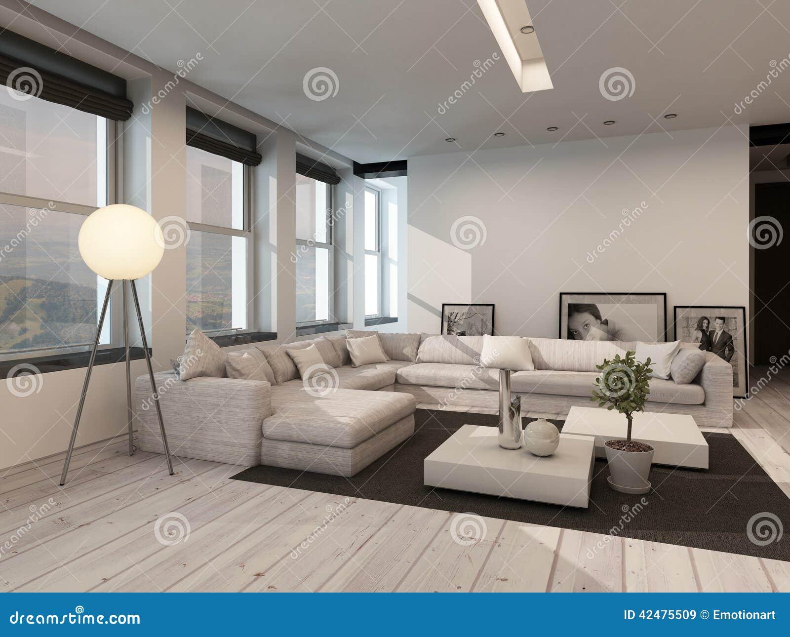 Interno in bianco e nero moderno del salotto illustrazione for Salotto bianco