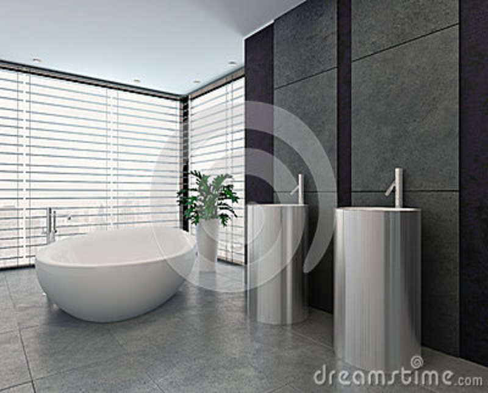 Interno in bianco e nero moderno di lusso del bagno illustrazione di