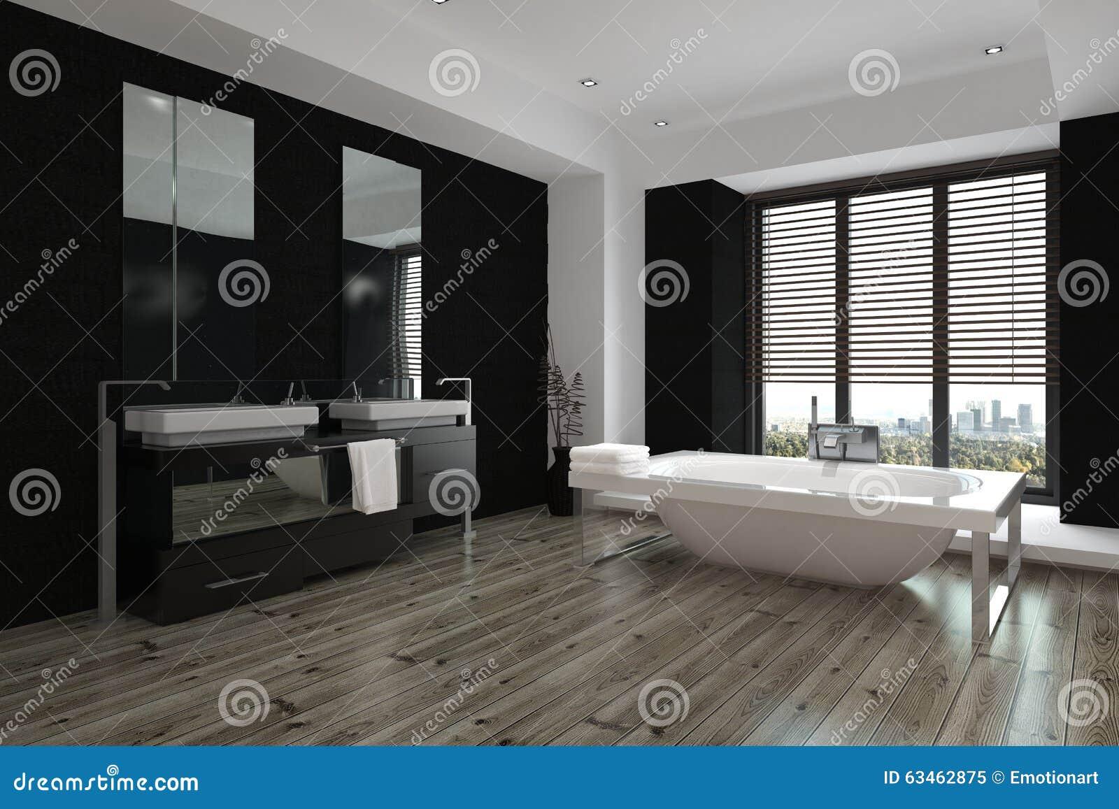 Interno In Bianco E Nero Moderno Spazioso Del Bagno Immagine Stock - Immagine: 63462875