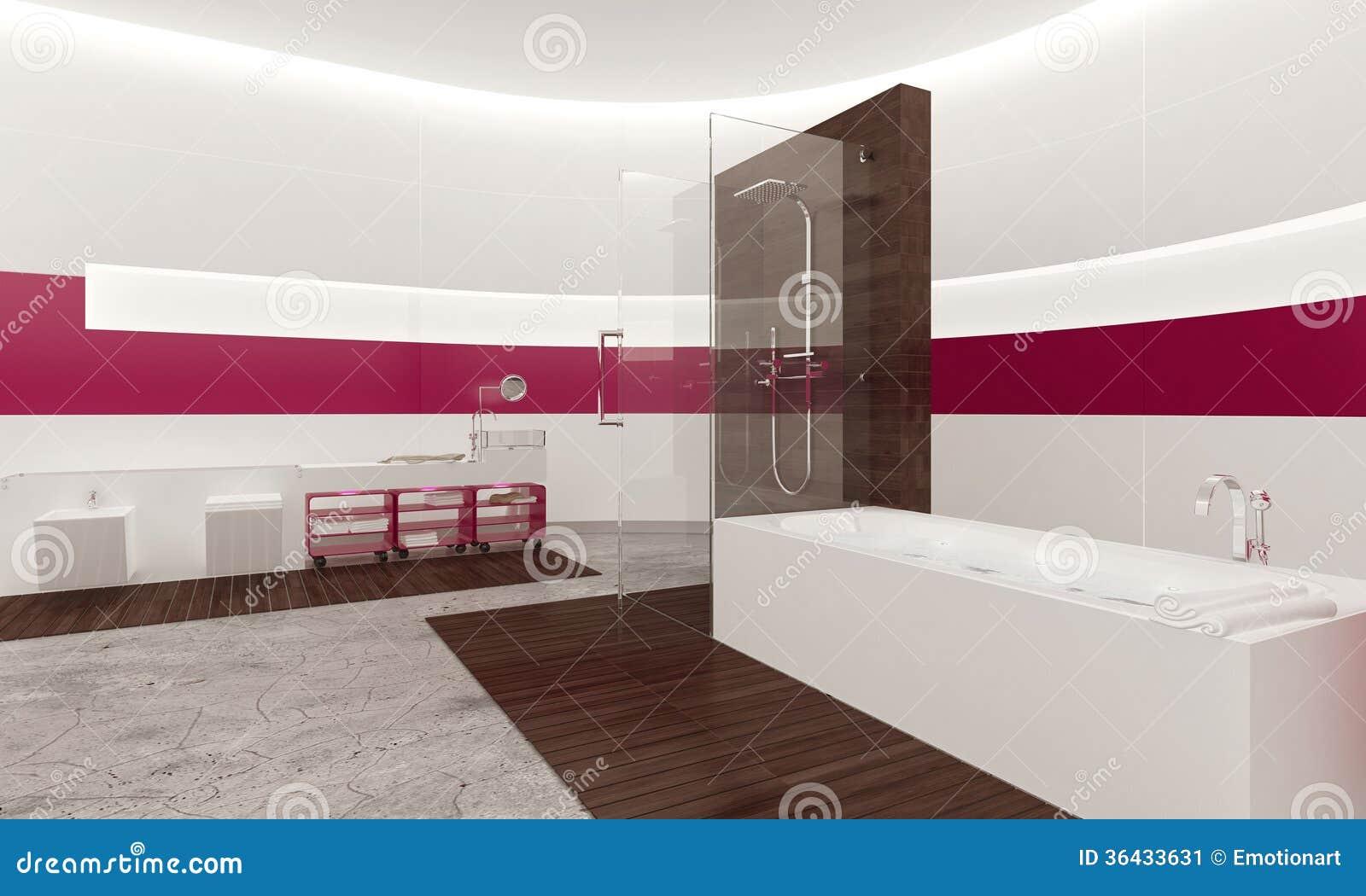 Interno bianco e rosa contemporaneo moderno del bagno - Bagno contemporaneo ...