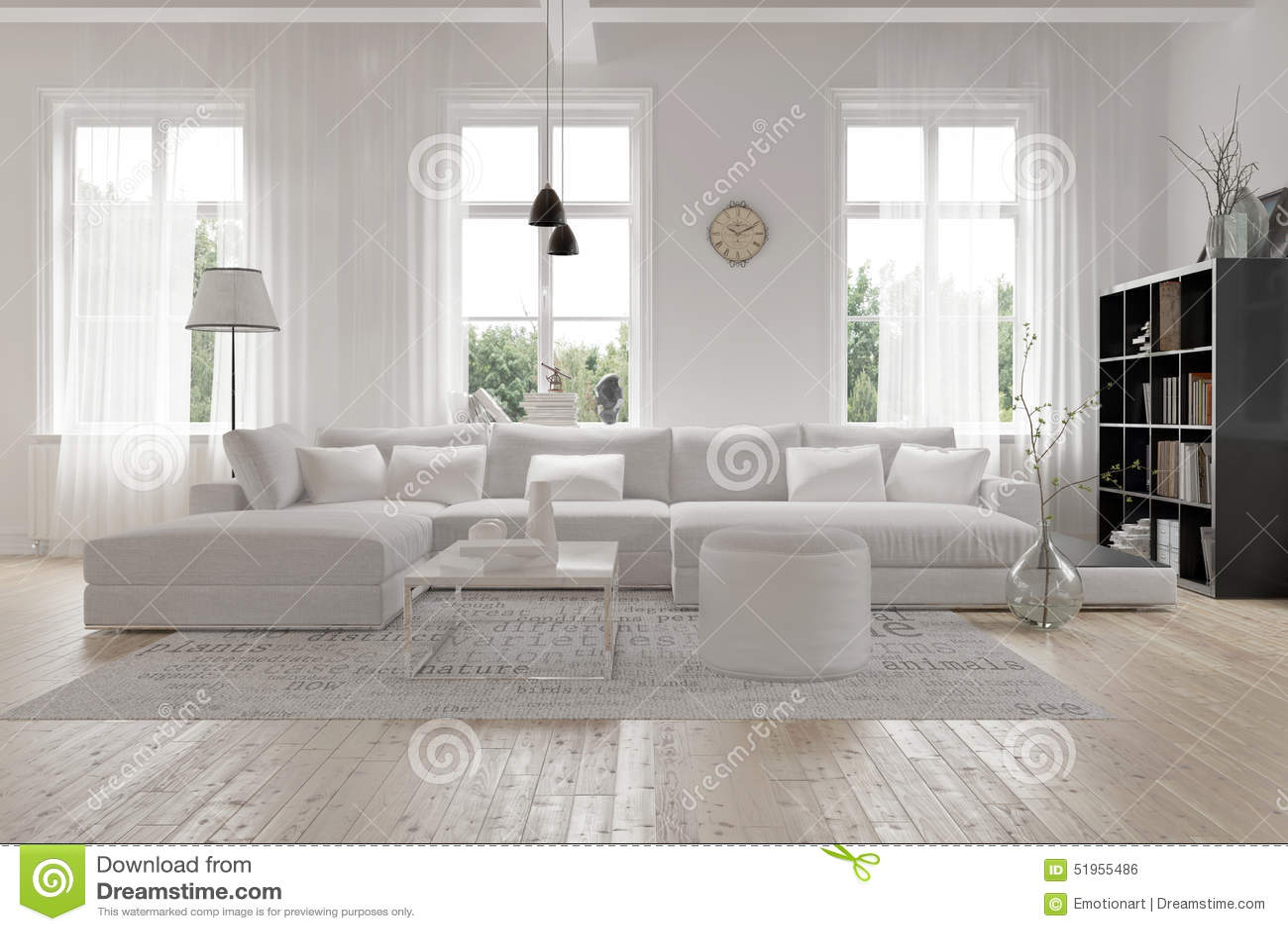 Salotto Moderno Grande : Interno bianco spazioso moderno del salotto illustrazione di stock