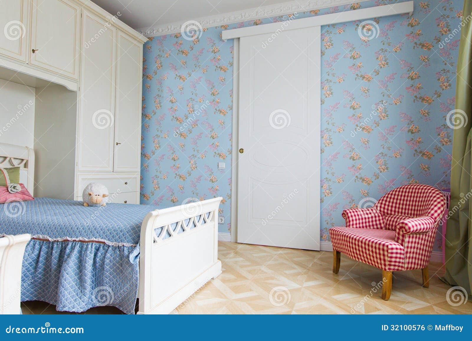 interno blu della camera da letto delle ragazze immagine stock ... - Interni Ragazze Camera Design