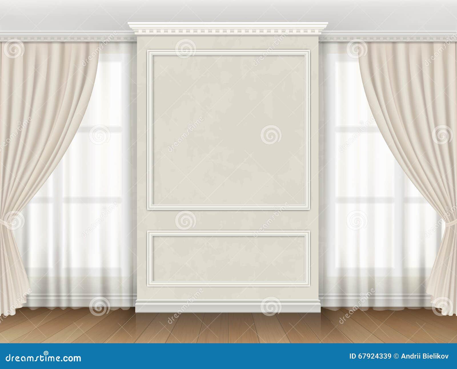 Interno classico con i modanature del pannello e le tende di finestre illustrazione vettoriale - Finestre con tende ...