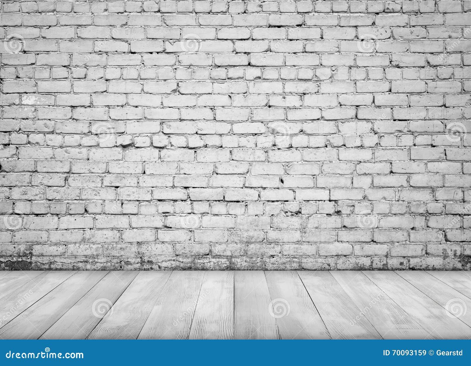 Interno con il muro di mattoni bianco ed il pavimento di legno per fondo immagine stock - Vernice per muro interno ...