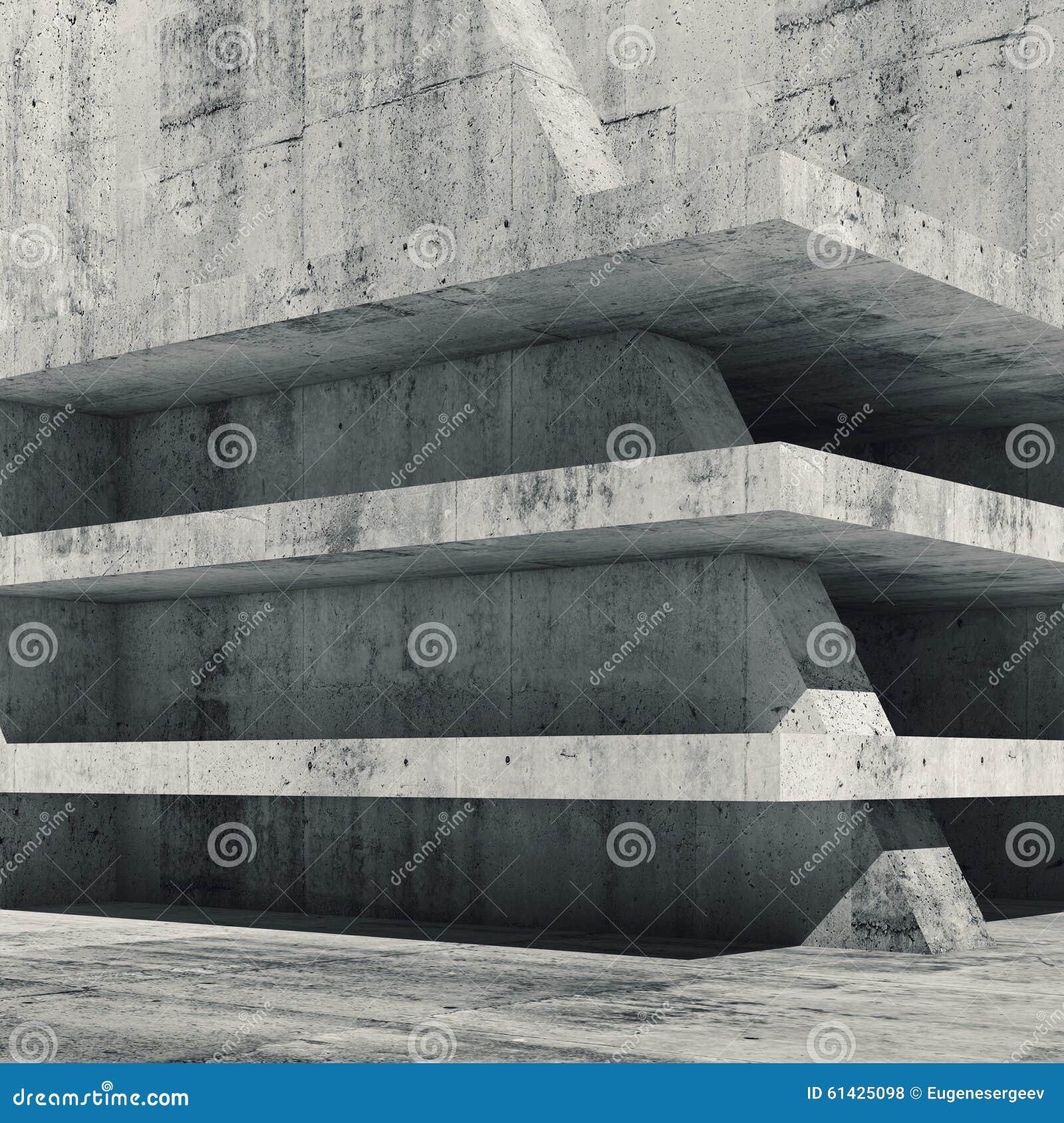 Interno concreto vuoto astratto con i pavimenti 3 d for Pavimenti 3d prezzi