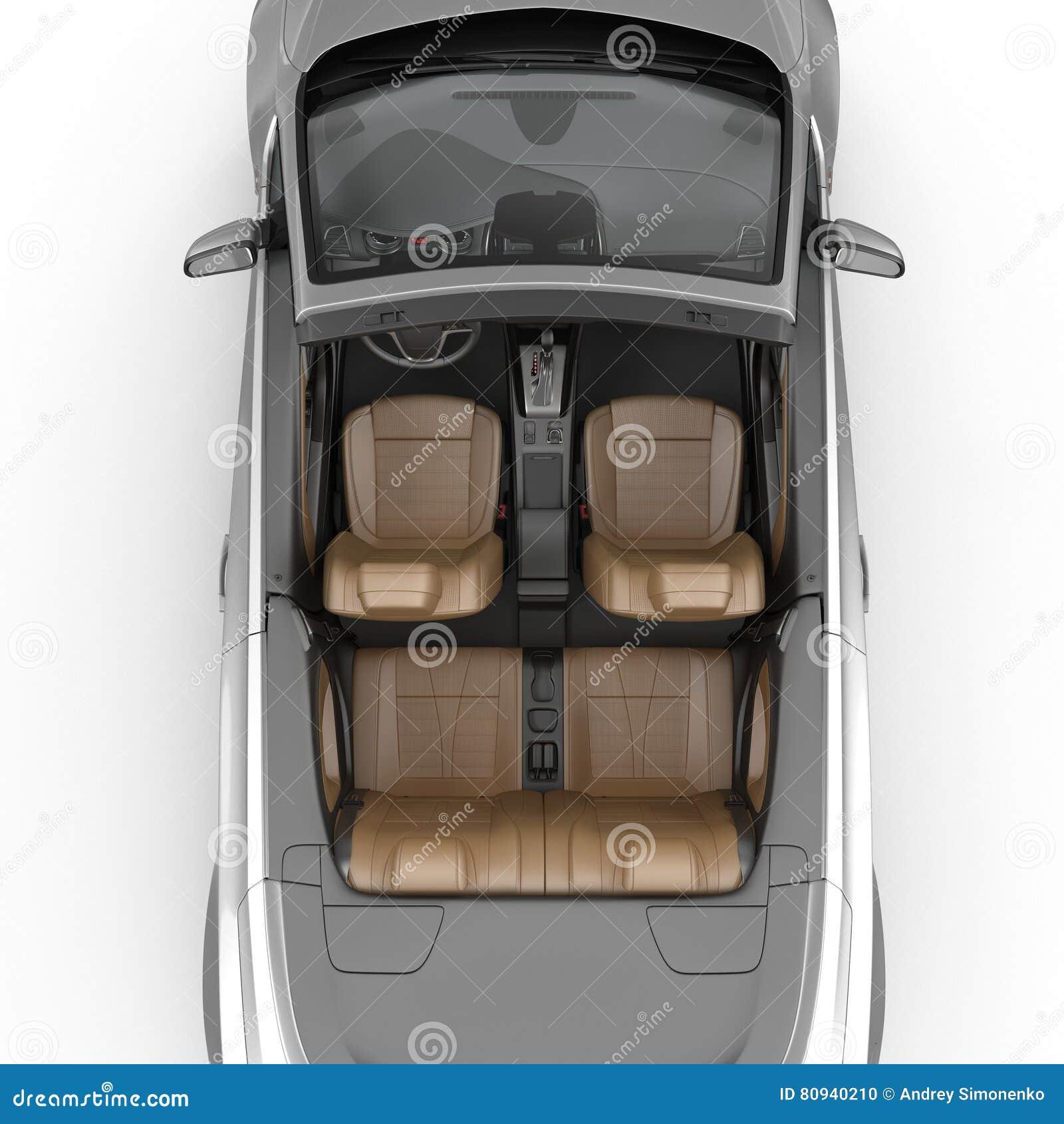 Interno convertibile dell automobile sportiva isolato su un fondo bianco illustrazione 3D