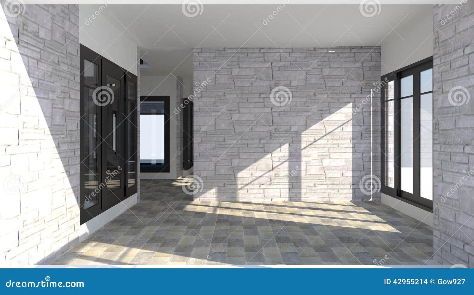 Interno 3d della stanza dentro una casa con mattoni a for Interno di una casa