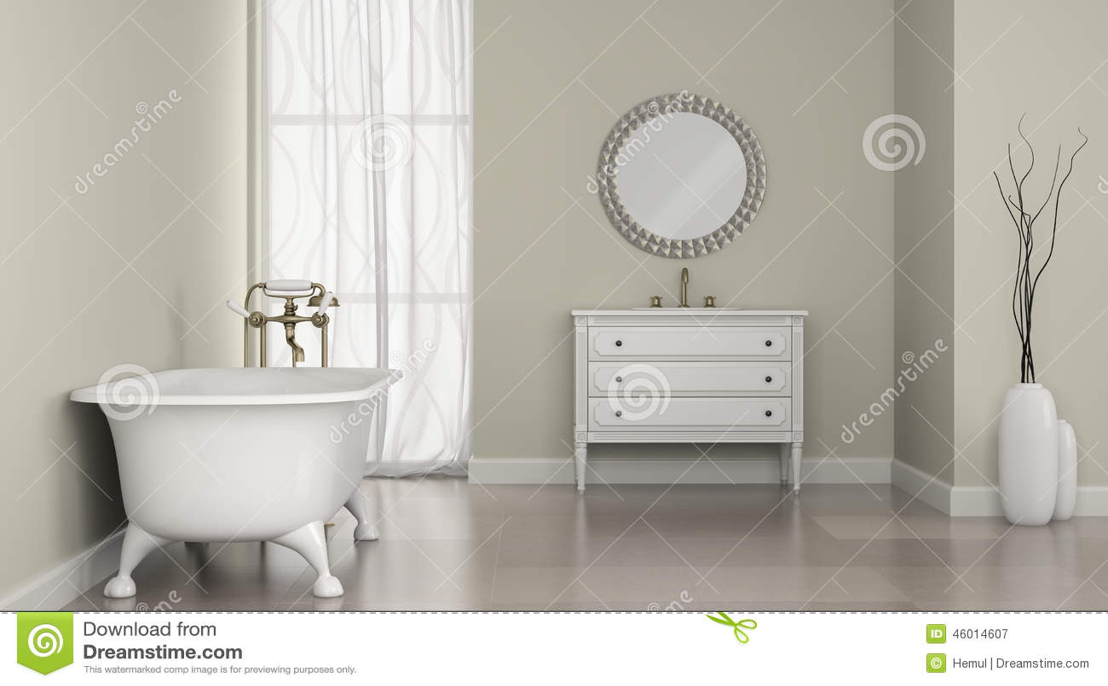 Interno del bagno classico con lo specchio ed i vasi rotondi