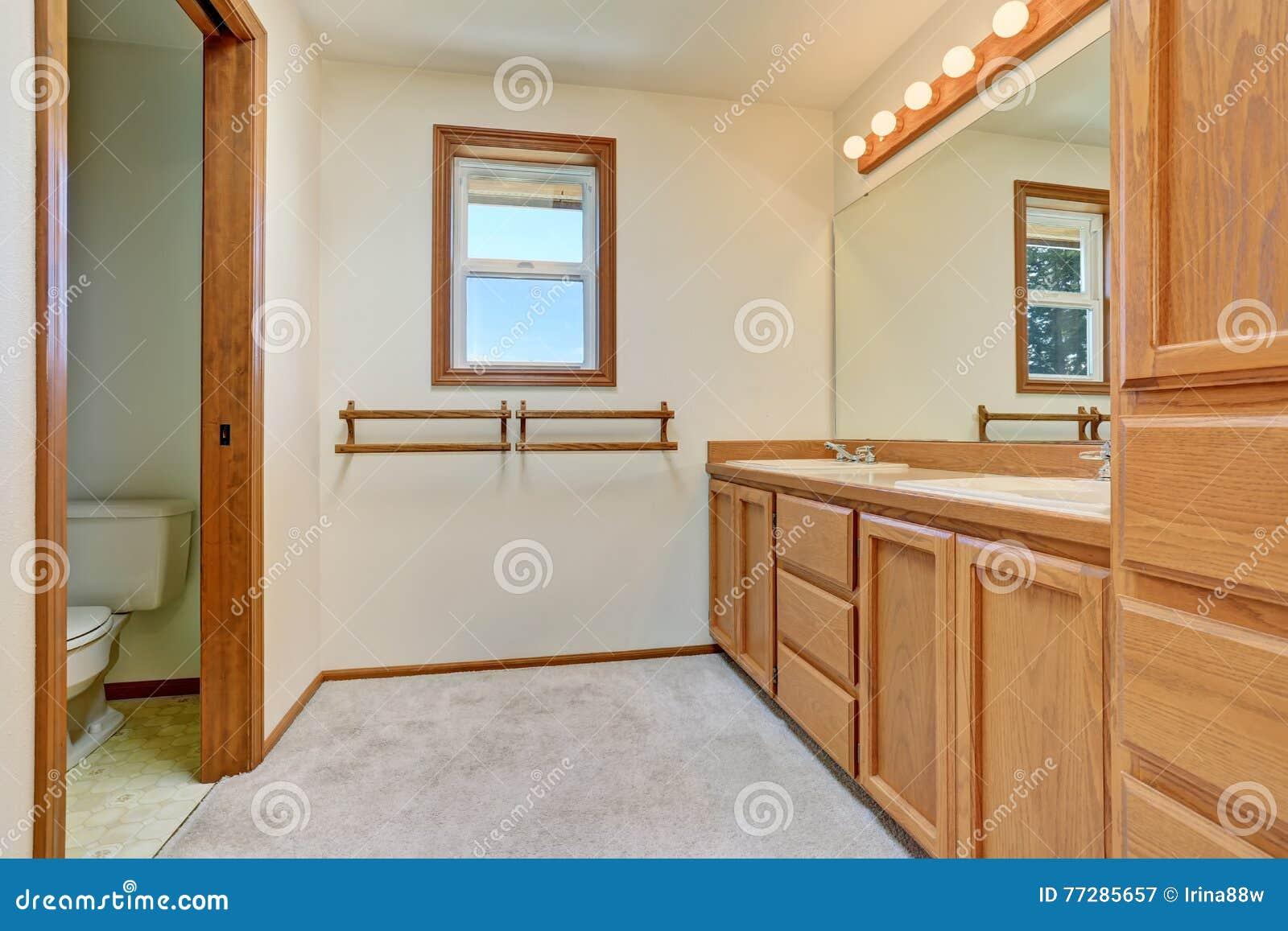 Interno del bagno con il gabinetto di legno di vanità il grande