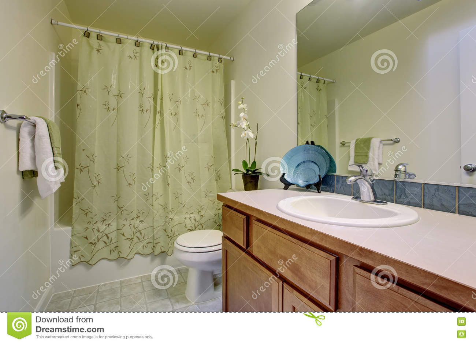 Interno del bagno con la pavimentazione in piastrelle i gabinetti