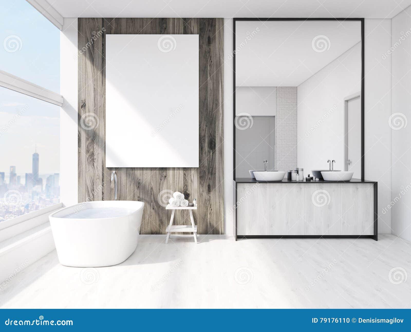 Specchio Grande Da Bagno.Interno Del Bagno Con Lo Specchio Illustrazione Di Stock