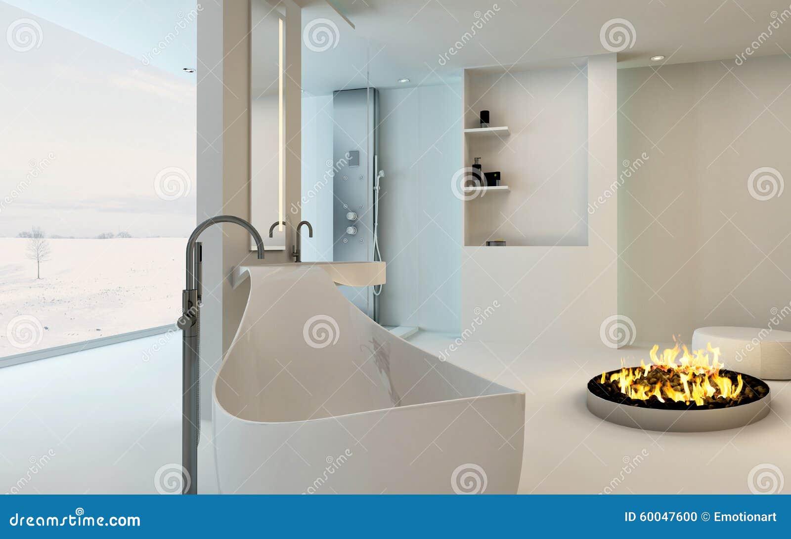 Stanza Da Bagno Moderna Con Il Camino Immagine Stock Libera da ...