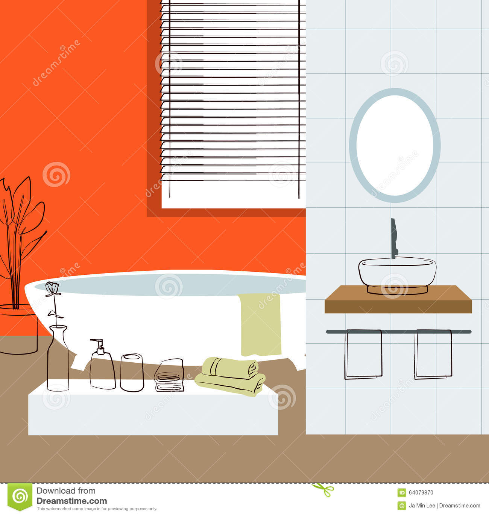 Interno del bagno interior design illustrazione for Design del bagno