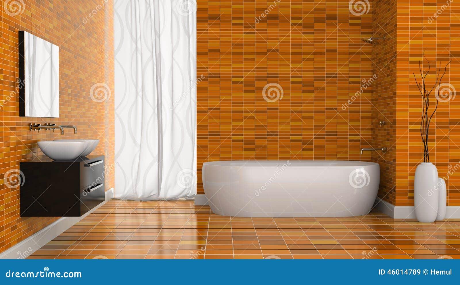 Interno del bagno moderno con la parete arancio delle mattonelle illustrazione di stock - Mattonelle da parete ...