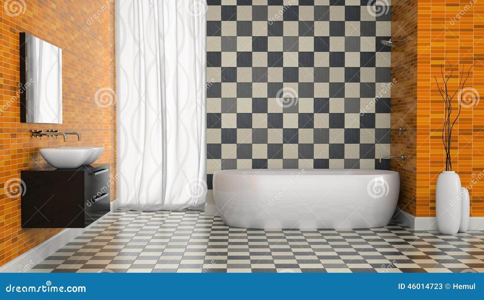 Interno del bagno moderno con la parete in bianco e nero delle