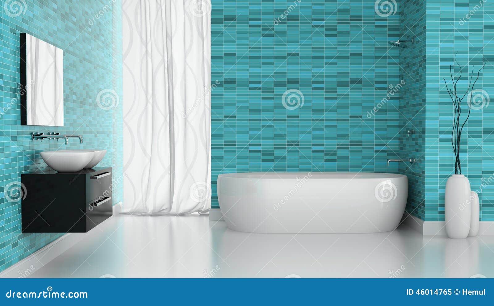 Interno del bagno moderno con la parete blu delle - Immagini mattonelle bagno ...
