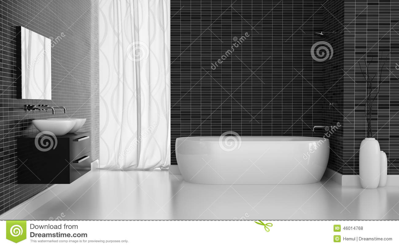 Interno del bagno moderno con la parete nera delle mattonelle