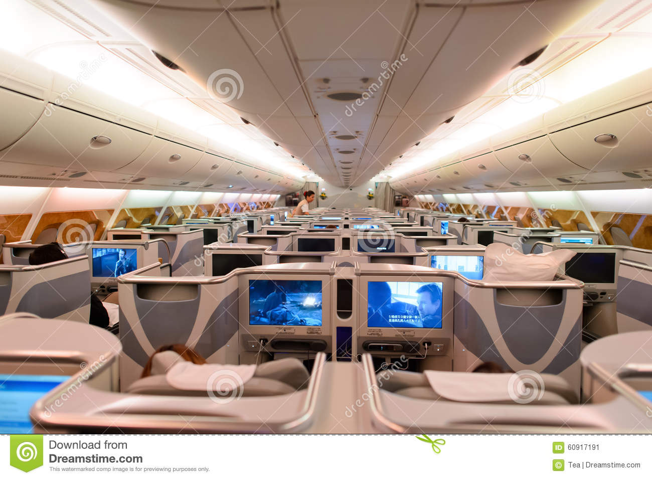 interno del business class di airbus a380 degli emirati