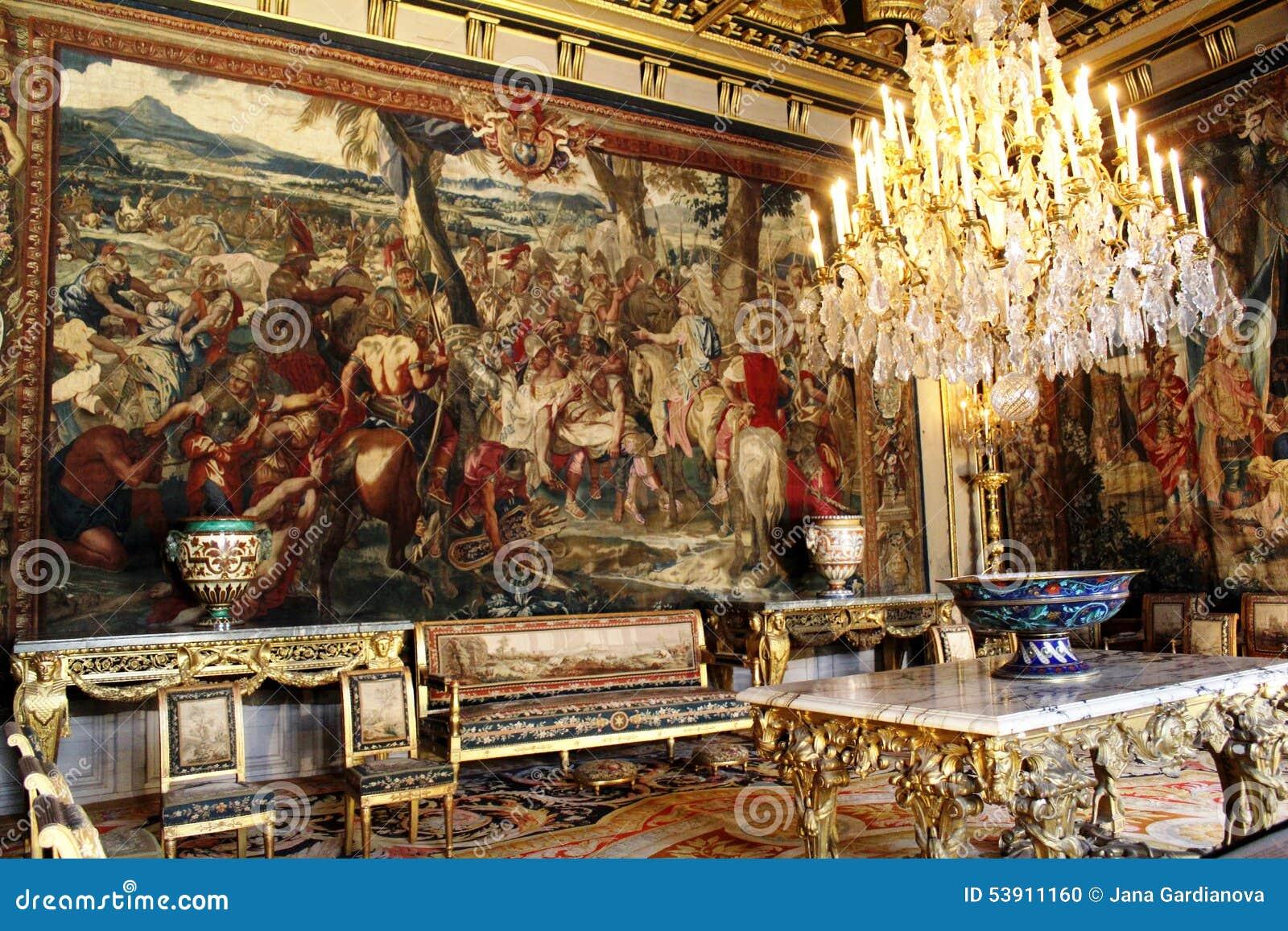 Interno del castello Fontainebleau, Francia