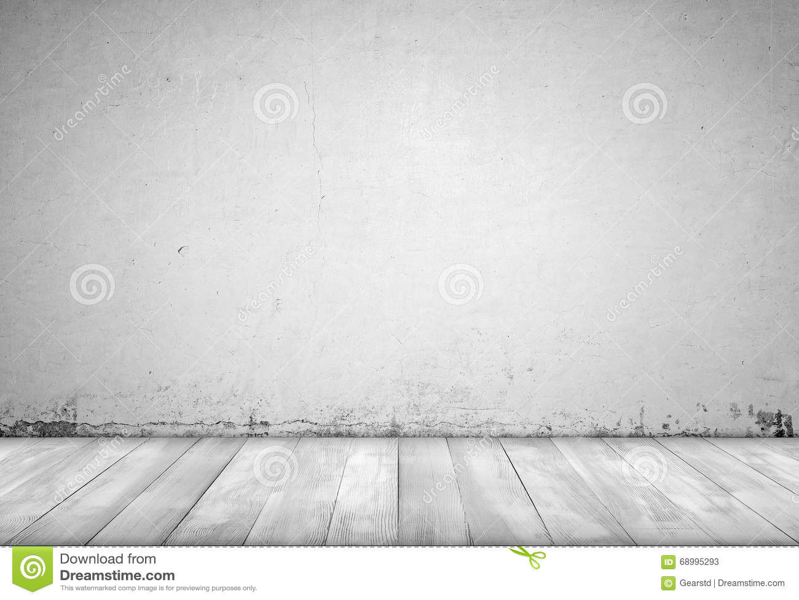 Interno del fondo pavimento di legno e del muro di cemento