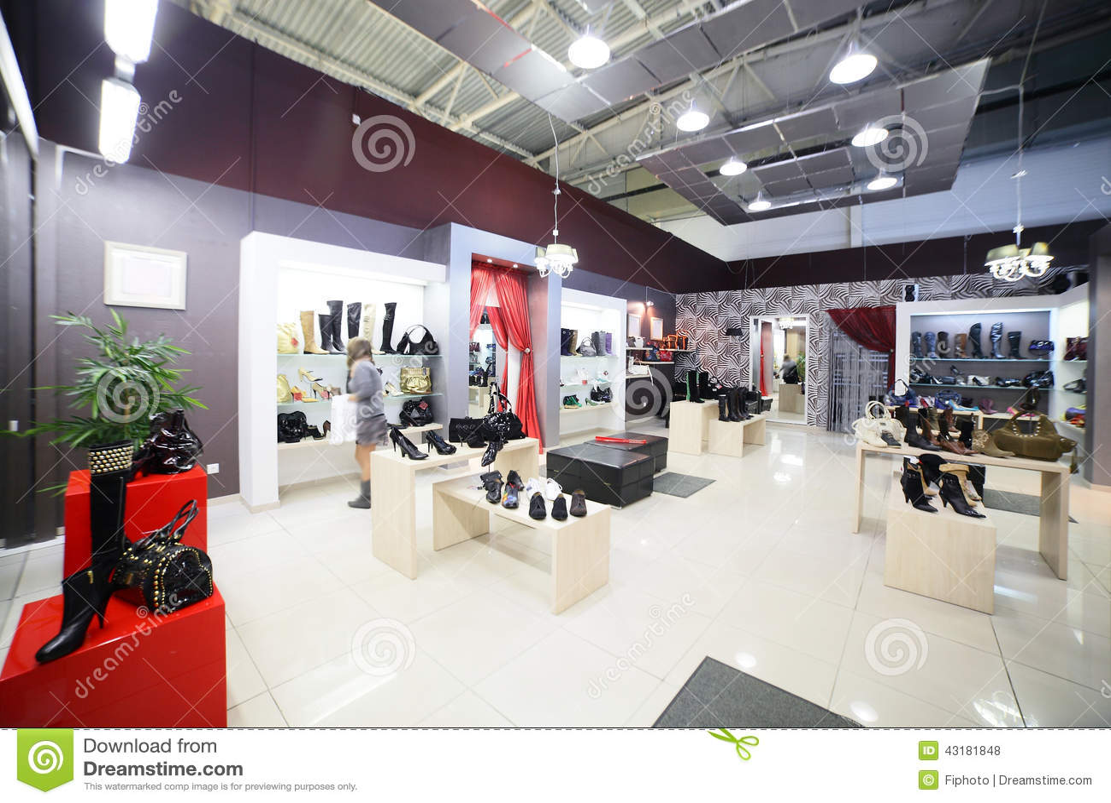 Negozio di scarpe scarpe designer di stile moderno in