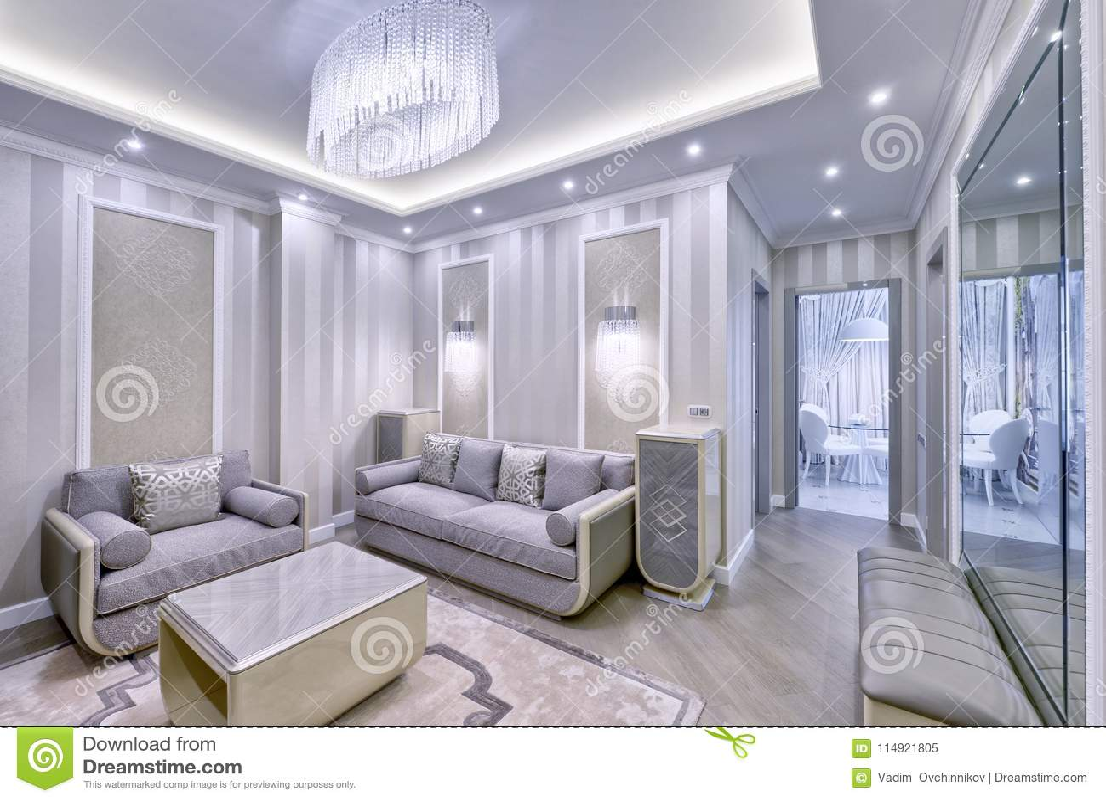 Interni Casa Grigio : Interno del salone in casa moderna immagine stock immagine di