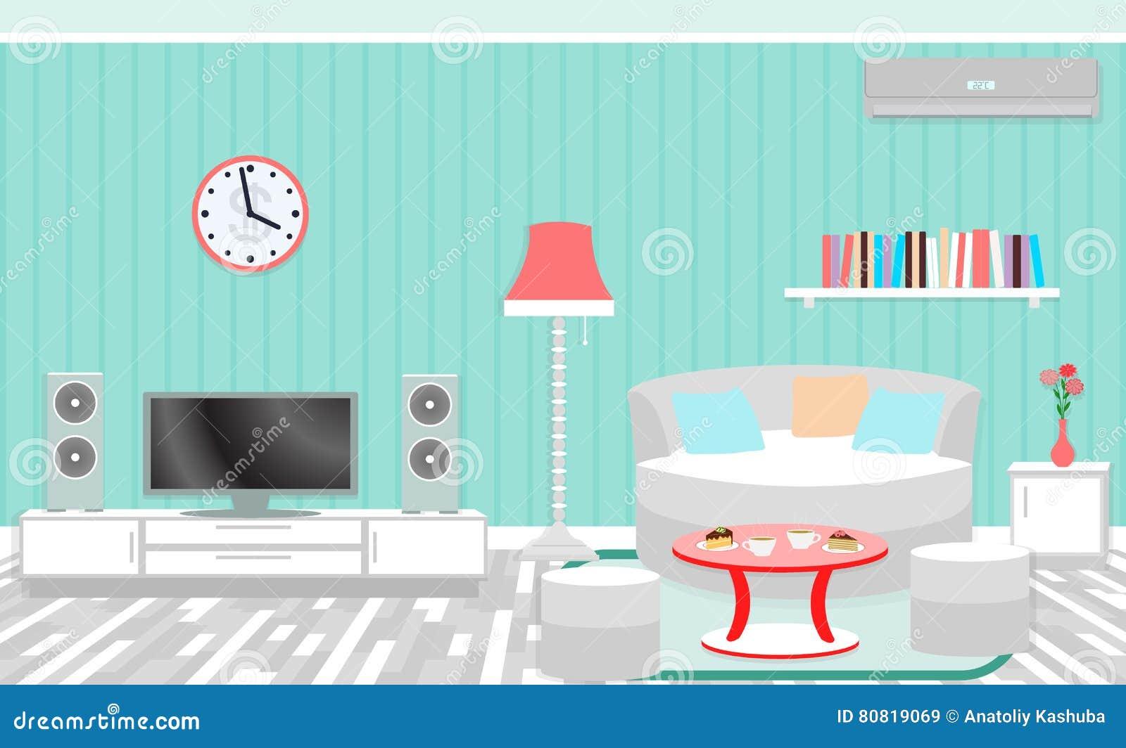 Interno del salone compreso mobilia condizionamento d for Piano di abbozzo domestico