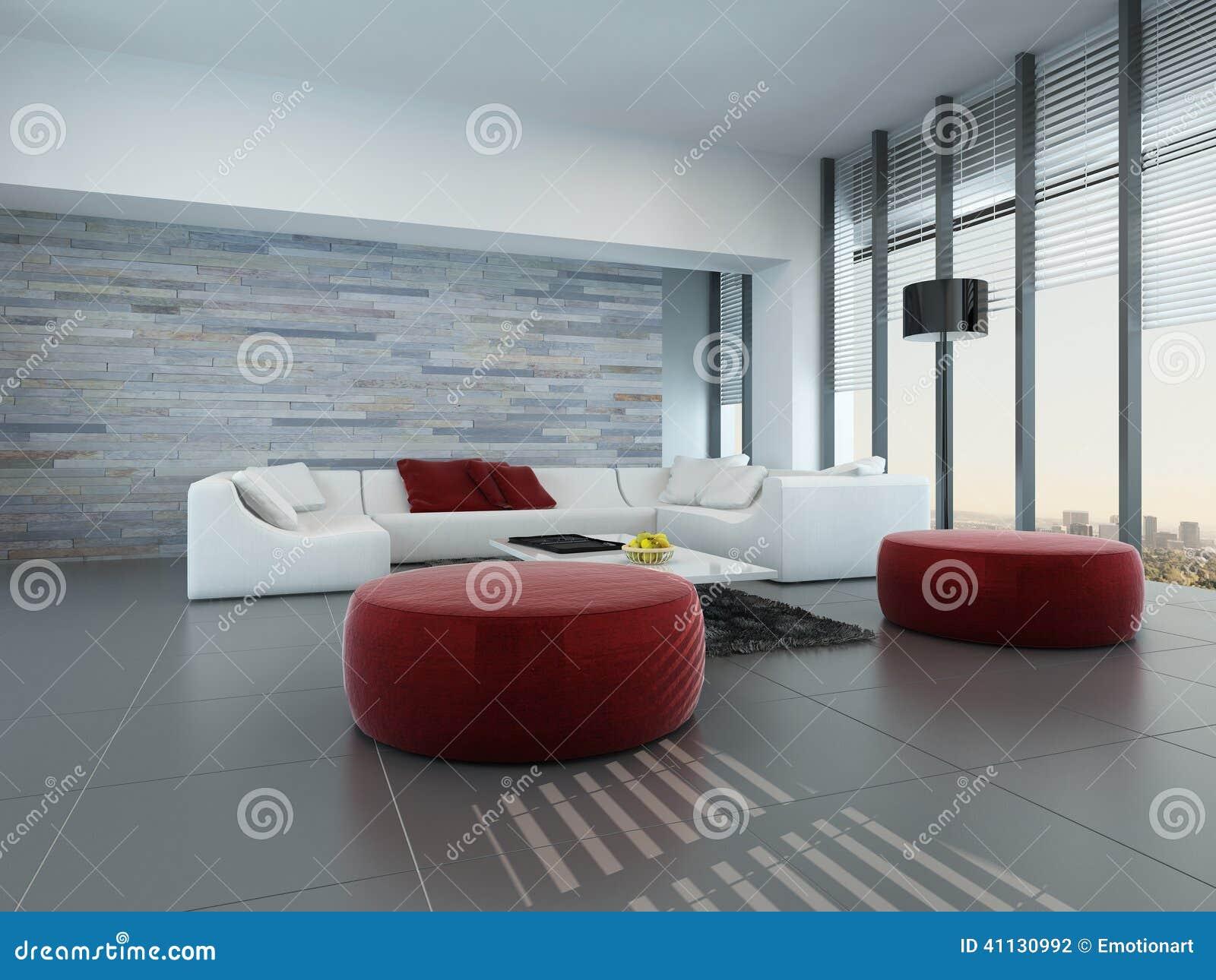 Interno del salone con la parete di pietra ed i panchetti for Salone con parete in pietra