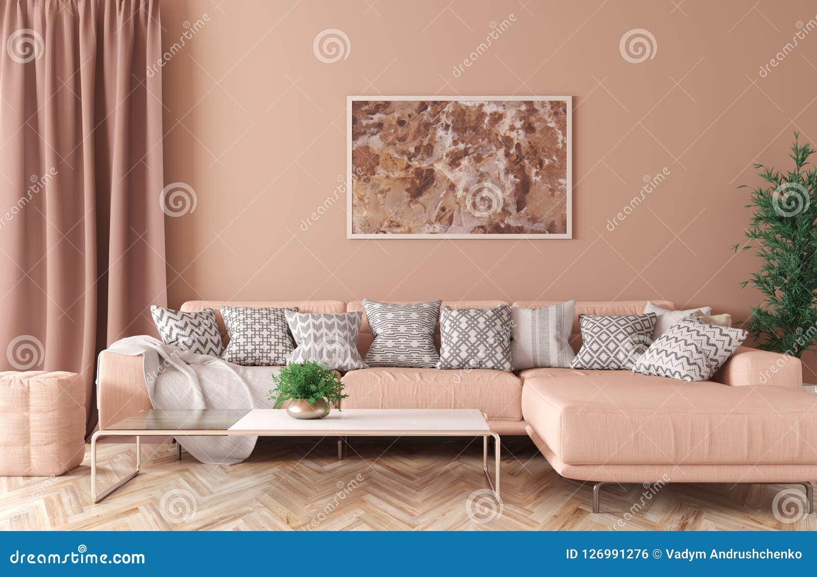 Interno del salone con la rappresentazione del sofà 3d