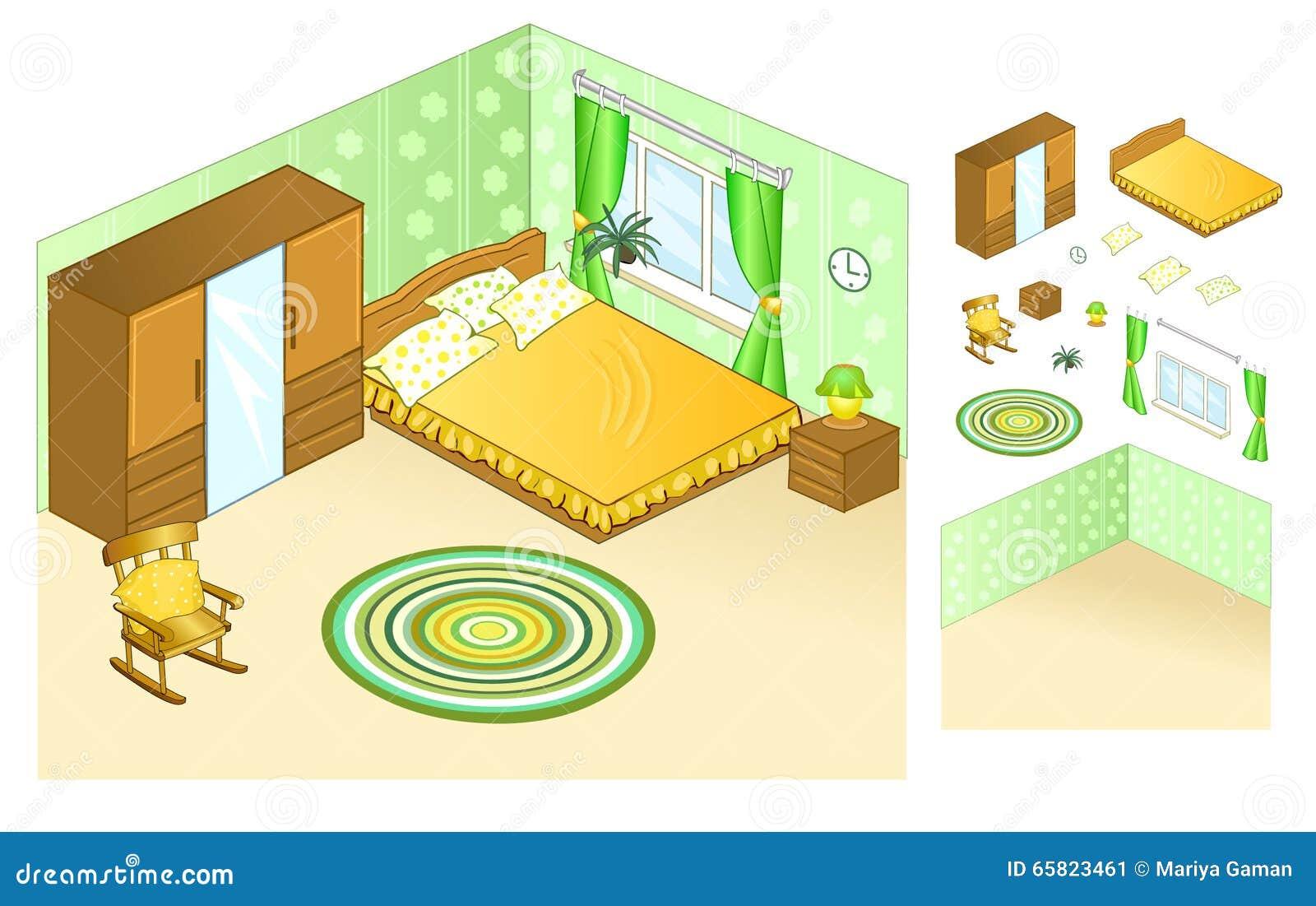 Interno dell appartamento bedroom Letto con i cuscini dalla finestra Comodino con le lampade di notte e la sedia di oscillazione
