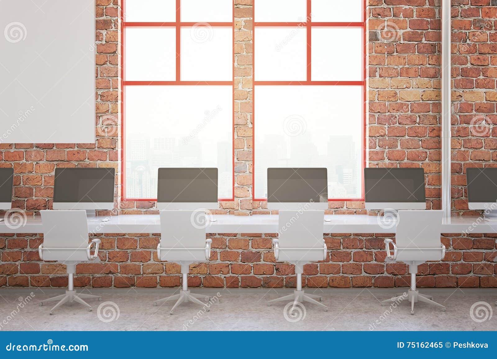 Ufficio Rosso E Bianco : Interno dell ufficio del mattone rosso illustrazione di stock