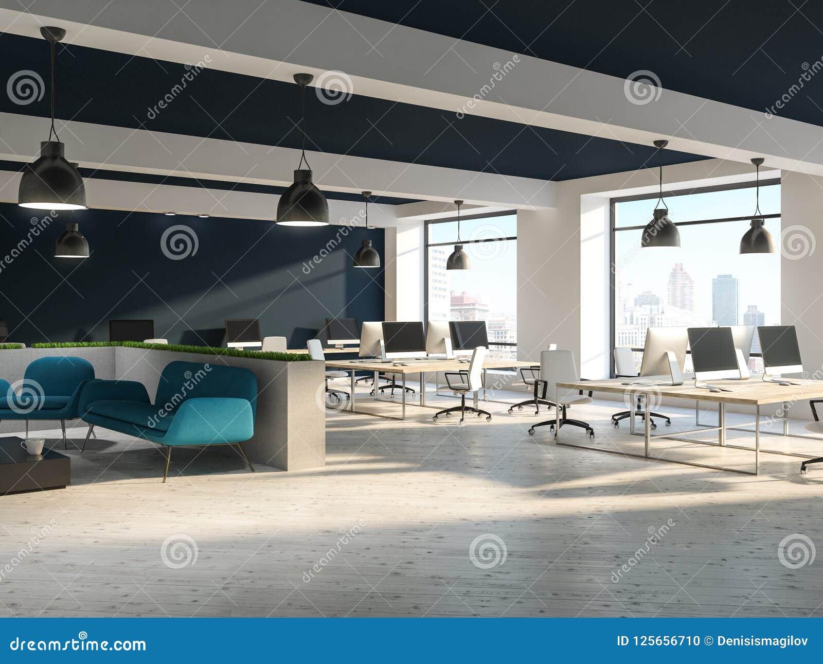 Interno dell ufficio dello spazio aperto con area blu del sofà