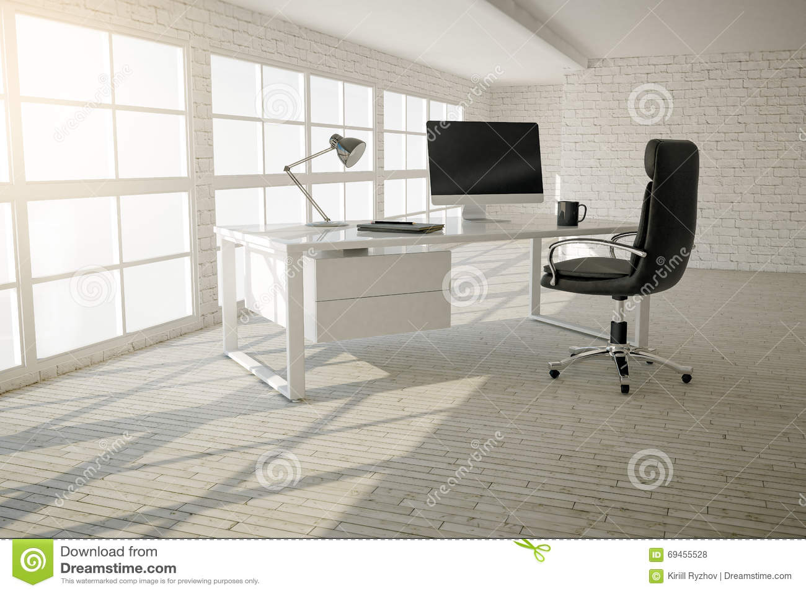 Interno dell 39 ufficio moderno con i mura di mattoni il - Pavimento interno moderno ...