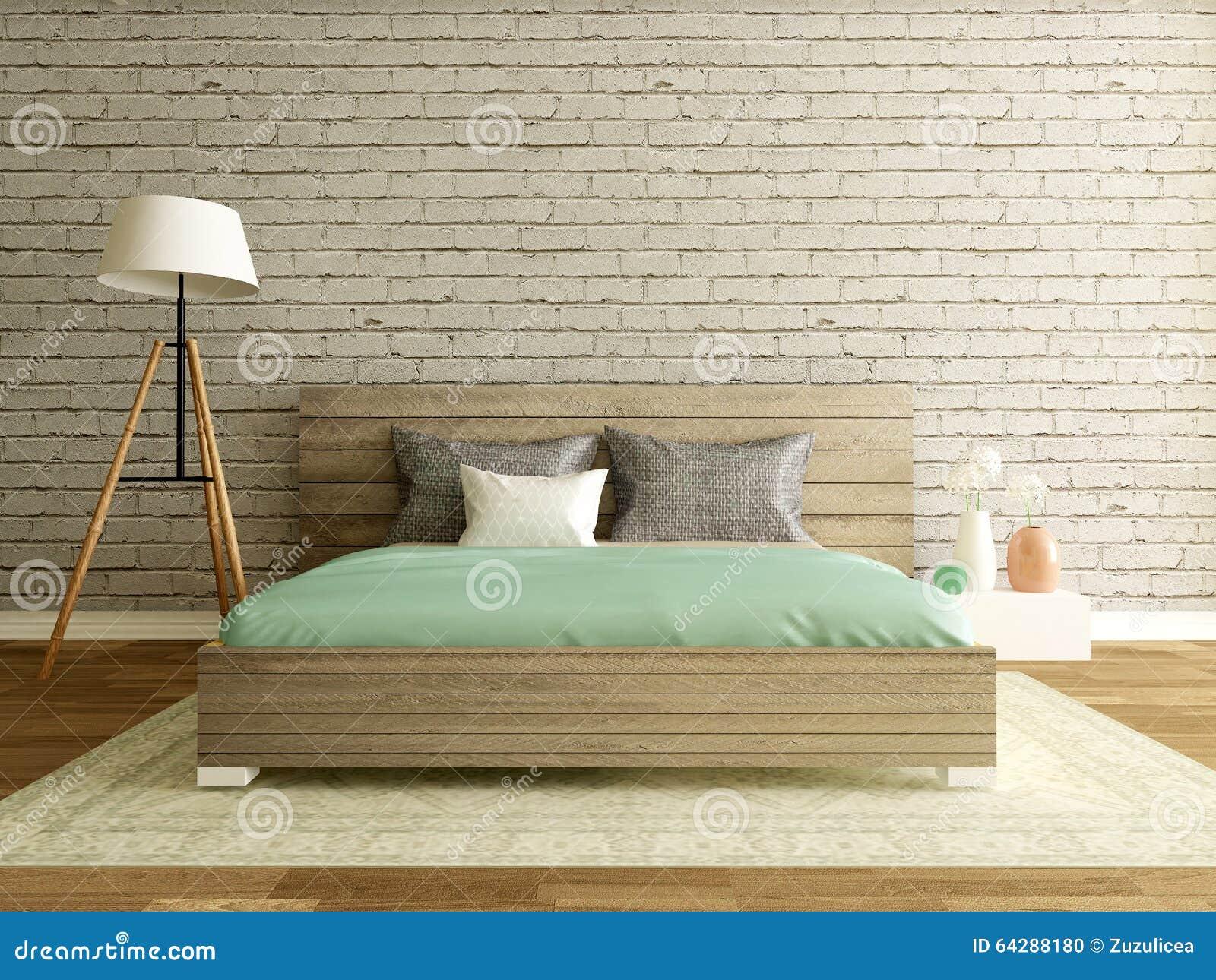 Tenda Camera Da Letto Moderna : Interno della camera da letto con il muro di mattoni
