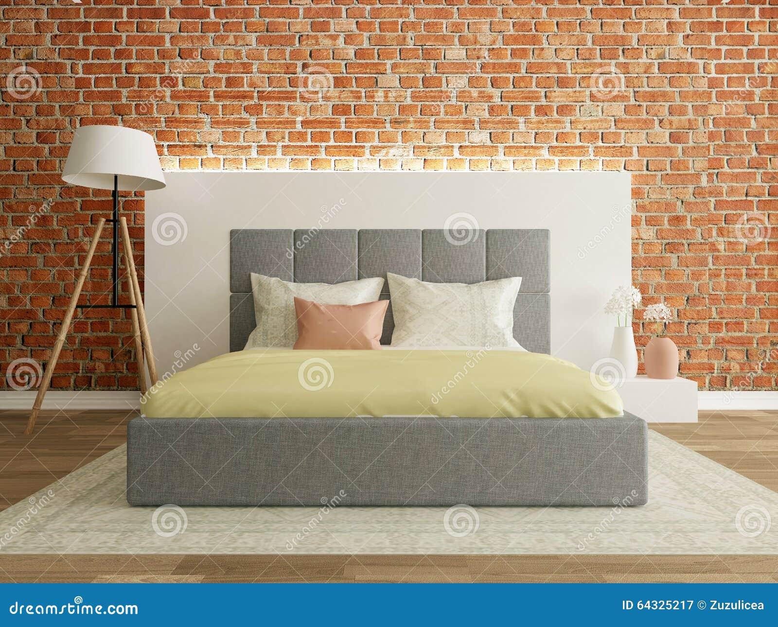 Interno della camera da letto con il muro di mattoni - Letto a muro ...