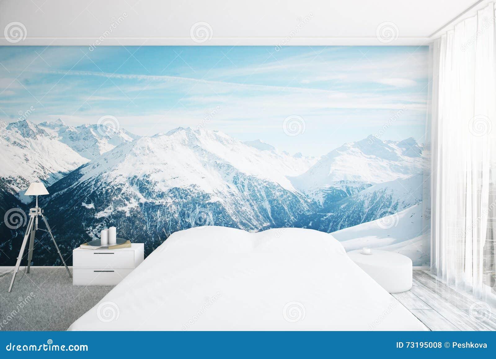 Interno della camera da letto con la carta da parati del - Carta da parati in camera da letto ...