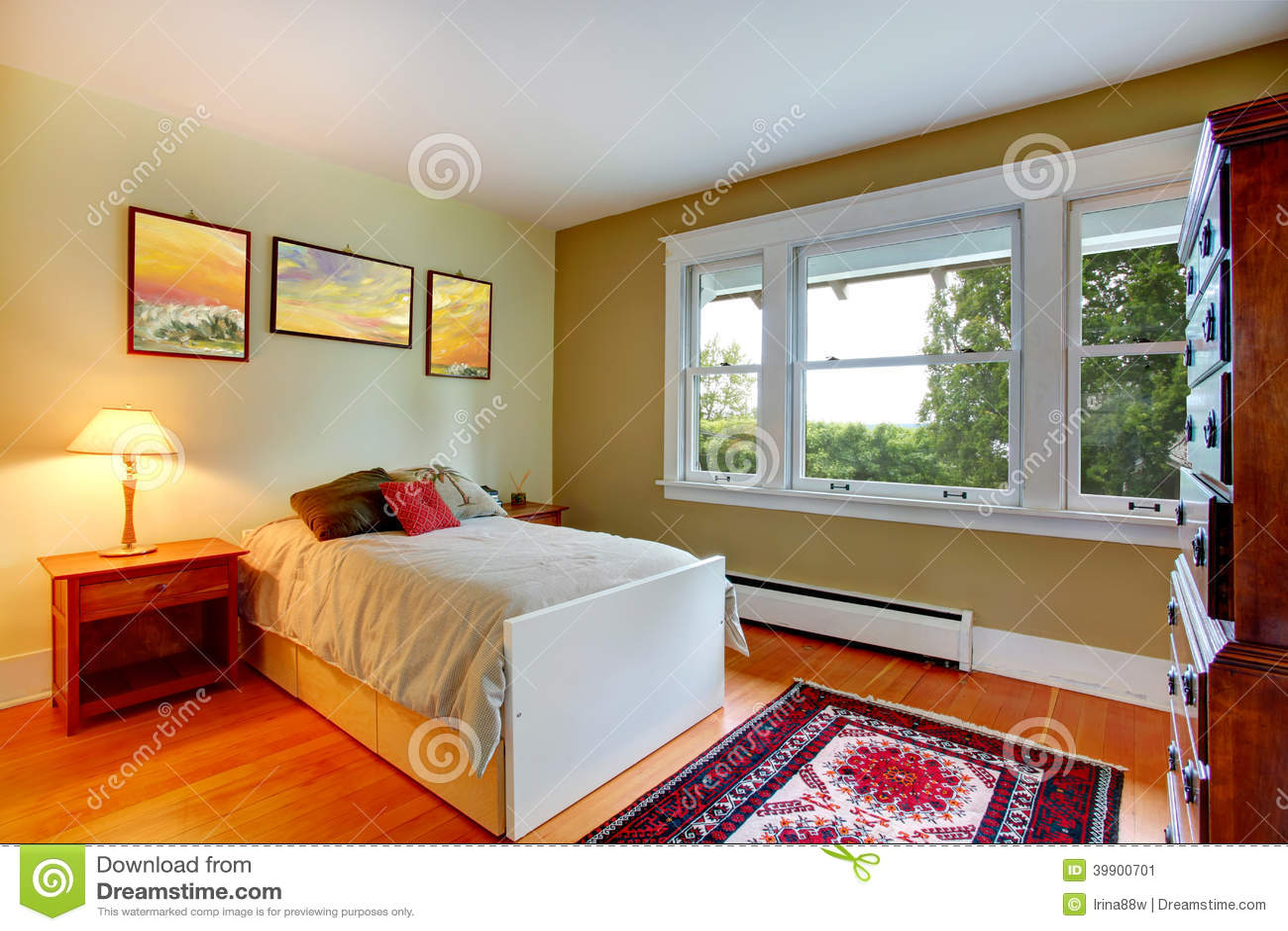 Interno della camera da letto con letto singolo immagine - Camera da letto con tv ...