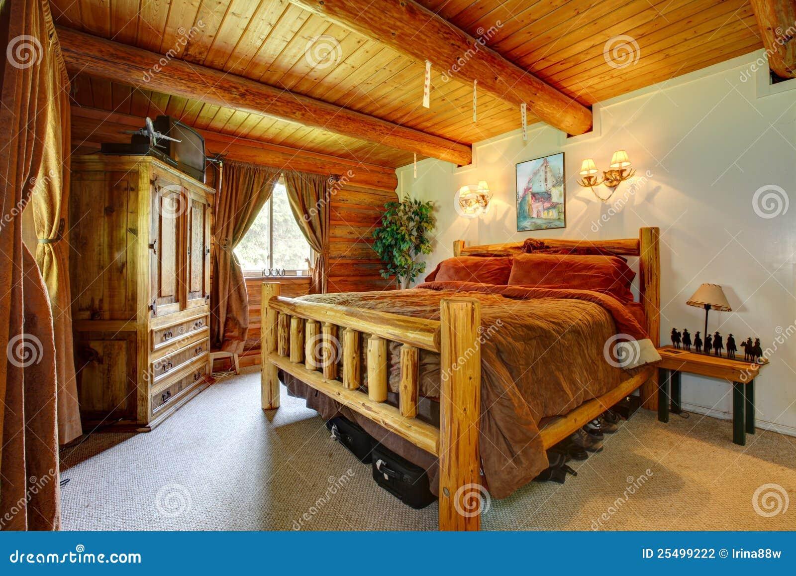 interno della camera da letto del cowboy con il soffitto