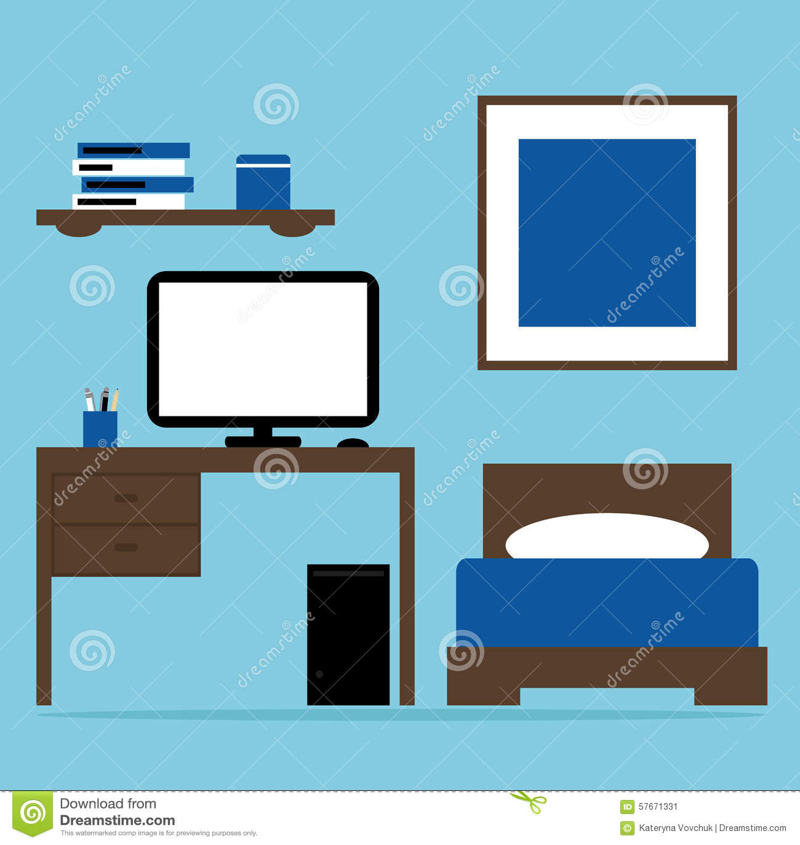 Interno della camera da letto del ragazzo con il letto for Colori del rivestimento della baracca
