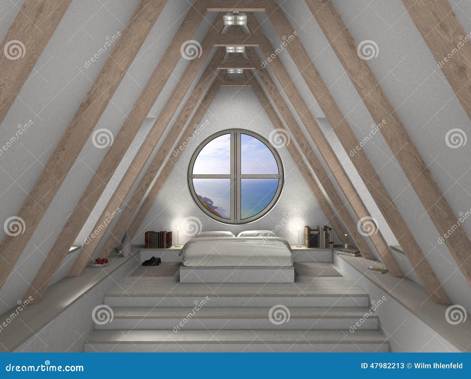 Camera da letto moderna della mansarda fotografia stock libera da ...